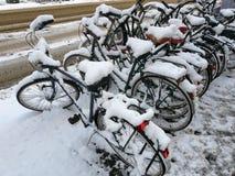 Bici dello Snowy fotografia stock libera da diritti