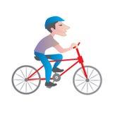 Bici di guida dell'uomo Fotografia Stock