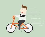 Bici di guida dell'uomo d'affari Immagine Stock