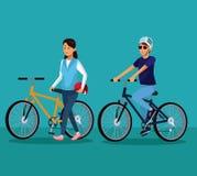 Bici di guida della gente illustrazione di stock