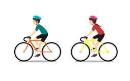 Bici di guida della ragazza e dell'uomo illustrazione di stock
