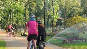Bici di guida nel parco video d archivio