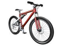 bici di montagna 3D sulla parte anteriore bianca Fotografia Stock