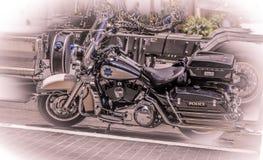 Bici di SFPD nel monocromio con un tocco di blu immagini stock