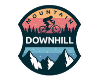 Bici in discesa moderna Logo Badge Illustration illustrazione vettoriale