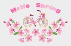 Bici e Cherry Blossom Embroidery Pattern Immagini Stock