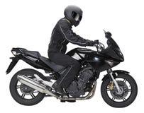 Bici e motociclista Immagine Stock