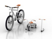 Bici e motorino Immagini Stock
