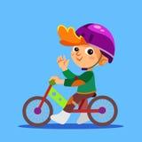 Bici felice dell'equilibrio di guida del ragazzino Fotografie Stock