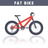 Bici grassa nello stile piano sopra bianco illustrazione di stock
