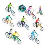 Bici isométrica de la gente Bicis que montan al aire libre, ciclistas de la mujer del hombre El biking activo de la familia Vecto libre illustration