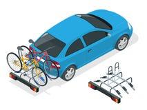 Bici isometriche caricate sul retro di un Van Automobile e biciclette Illustrazione piana di vettore di stile isolata su bianco Immagini Stock