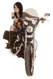 Bici llena de la red de la motocicleta de la mujer Fotos de archivo libres de regalías