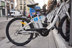Bici Mad share bikes in Madrid Royalty Free Stock Images