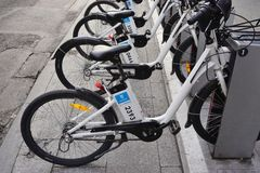 Bici Mad share bikes in Madrid Stock Images