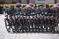 Bici nere che stanno in una fila fotografia stock libera da diritti