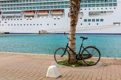 Bici por la palmera con el barco de cruceros fotografía de archivo libre de regalías