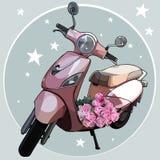 Bici rosa dipinta con un mazzo delle rose rosa immagine stock