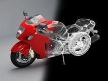 Bici rossa alta tecnologia Fotografia Stock Libera da Diritti