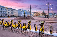 Bici urbane a Helsinki centrale Fotografia Stock