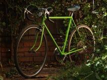 Bici verde vieja del camino Foto de archivo