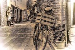 Bici vieja con el caso de madera en contra de una pared de ladrillo en tono de la sepia fotografía de archivo