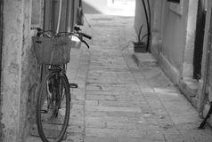 Bicicle on the street of the old city Kos, on the Kos island Stock Photo