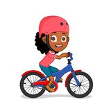 Bicicleta afro-americano da equitação da menina Imagem de Stock