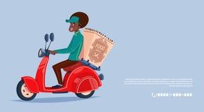 Bicicleta afro-americano de Boy Riding Motor do correio do ícone do serviço de entrega do alimento que entrega o mantimento Imagem de Stock