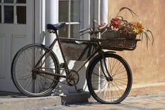 Bicicleta aherrumbrada con el portador Fotos de archivo libres de regalías