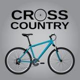 Bicicleta através dos campos Desenho detalhado Objeto isolado Vetor Imagens de Stock