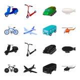 Bicicleta, avião, ônibus, tipos do helicóptero do transporte Ícones ajustados da coleção do transporte no preto, vetor do estilo  Imagem de Stock Royalty Free