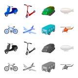 Bicicleta, avião, ônibus, tipos do helicóptero do transporte Ícones ajustados da coleção do transporte nos desenhos animados, vet Fotografia de Stock Royalty Free