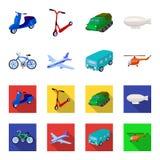 Bicicleta, avião, ônibus, tipos do helicóptero do transporte Ícones ajustados da coleção do transporte nos desenhos animados, vet Fotos de Stock