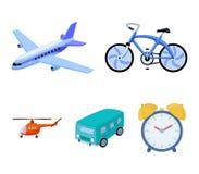 Bicicleta, avião, ônibus, tipos do helicóptero do transporte Os ícones ajustados da coleção do transporte no estilo dos desenhos  Imagens de Stock Royalty Free