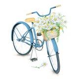 Bicicleta azul da aquarela com a cesta bonita da flor imagem de stock