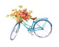 Bicicleta azul del vintage con un ejemplo del jardín del verano de la acuarela de la cesta de la flor pintado a mano ilustración del vector