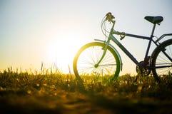 A bicicleta azul está na praia no lago fotos de stock