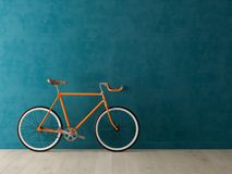 Bicicleta azul na ilustra??o cor-de-rosa do fundo 3D fotos de stock royalty free
