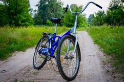 Bicicleta azul na natureza Fotos de Stock Royalty Free