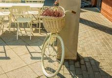 Bicicleta blanca con la cesta llena de flores estacionales Fotografía de archivo libre de regalías