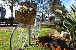 Bicicleta blanca de los ladys con la cesta de la flor Imágenes de archivo libres de regalías