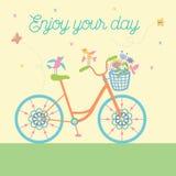 Bicicleta bonita bonito com pássaros e flores e rodas decorativas Ilustração do vetor Foto de Stock Royalty Free