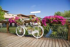 Bicicleta branca na ponte de madeira com flores Fotos de Stock Royalty Free