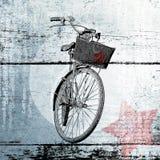 Bicicleta com uma estrela vermelha Cartaz contemporâneo Fotografia de Stock Royalty Free
