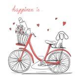 Bicicleta con flores y perro Fotos de archivo libres de regalías