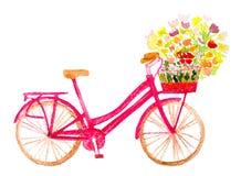 Bicicleta con las flores stock de ilustración