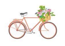 Bicicleta con las flores en caja Ilustración ilustración del vector