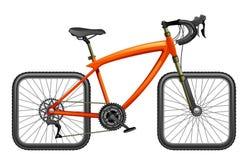Bicicleta con las ruedas cuadradas ilustración del vector