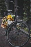 Bicicleta con los girasoles fotos de archivo libres de regalías